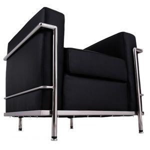 「ル・コルビジェ」デザイン ソファー 1Pブラック - 拡大画像