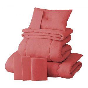 【ベッド専用】新20色羽根布団8点セット ベッドタイプ・セミダブル ローズピンク
