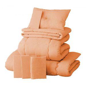 【ベッド専用】20色羽根布団8点セット ベッドタイプ・ダブル コーラルピンク - 拡大画像