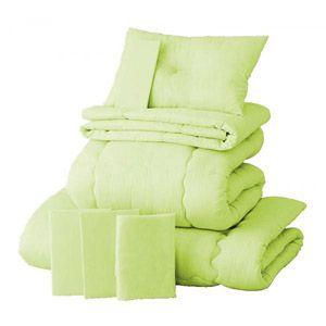 【ベッド専用】新20色羽根布団8点セット ベッドタイプ・シングル ペールグリーン - 拡大画像