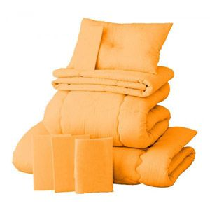【ベッド専用】新20色羽根布団8点セット ベッドタイプ・シングル サニーオレンジ - 拡大画像