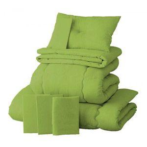 【ベッド専用】新20色羽根布団8点セット ベッドタイプ・セミダブル モスグリーン - 拡大画像