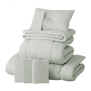 【ベッド専用】新20色羽根布団8点セット ベッドタイプ・シングル シルバーアッシュ - 拡大画像