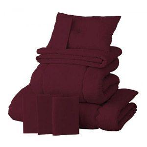 【ベッド専用】20色羽根布団8点セット ベッドタイプ・シングル ワインレッド - 拡大画像