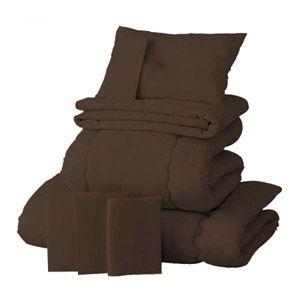 【ベッド専用】新20色羽根布団8点セット ベッドタイプ・シングル モカブラウン - 拡大画像