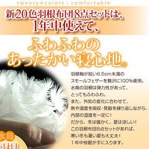 【ベッド専用】新20色羽根布団8点セット ベッドタイプ・ダブル フレッシュピンク