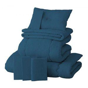 【ベッド専用】新20色羽根布団8点セット ベッドタイプ・ダブル ブルーグリーン