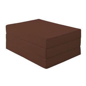 マットレス ダブル 厚さ12cm モカブラウン(仏=ブラウン) 新20色 厚さが選べるバランス三つ折りマットレス - 拡大画像