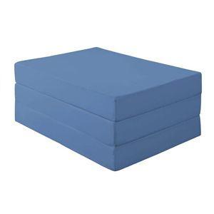マットレス セミダブル 厚さ12cm アースブルー 新20色 厚さが選べるバランス三つ折りマットレス - 拡大画像
