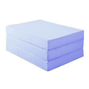 マットレス セミダブル 厚さ12cm パウダーブルー 新20色 厚さが選べるバランス三つ折りマットレス - 拡大画像