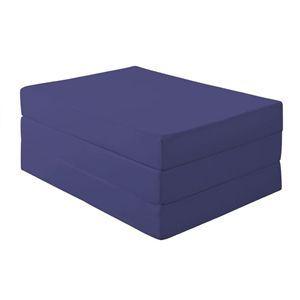 マットレス シングル 厚さ12cm ミッドナイトブルー 新20色 厚さが選べるバランス三つ折りマットレス - 拡大画像