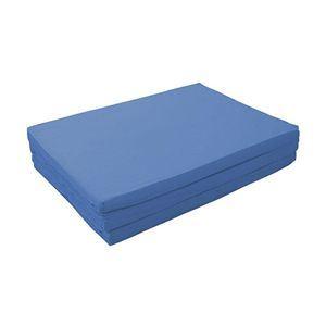 マットレス アースブルー セミダブル 厚さ6cm 新20色 厚さが選べるバランス三つ折りマットレス - 拡大画像