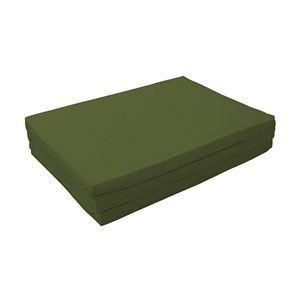 マットレス モスグリーン セミダブル 厚さ6cm 新20色 厚さが選べるバランス三つ折りマットレス - 拡大画像