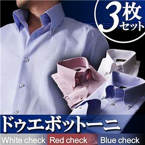 ワイシャツ3枚セット【Giorno】M カラーステッチ ドゥエボットーニ ボタンダウンシャツ3枚セット カラー(ホワイト・レッド・ブルーチェック) 【Giorno ジョルノ BType】