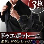カラーステッチ ドゥエボットーニ ボタンダウンワイシャツ3枚セット ブラック(ネイビー・ワインレッド・シルバーグレーステッチ)