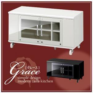 ハイグロス仕上げ収納【Grace】グレース 液晶テレビ台 90タイプ ブラック - 拡大画像