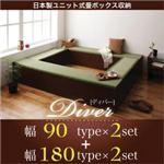 日本製ユニット式畳ボックス収納【Diver】ディバー 幅90タイプ(2体)+幅180タイプ(2体)セット