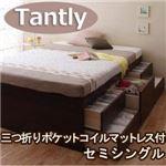 シンプルチェストベッド 【Tantly】タントリィ 【三つ折りポケットコイルマットレス付き】 セミシングル ホワイト