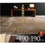 フェイクファーラグ 【Bruno】 ブルーノ 190×190 モカ【送料無料】