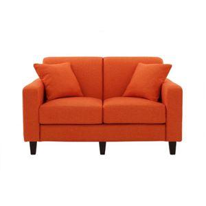 ソファー 幅130cm【LeJOY スタンダードタイプ】 ジューシーオレンジ 円錐/DB 【リジョイ】:20色から選べる!カバーリングソファ