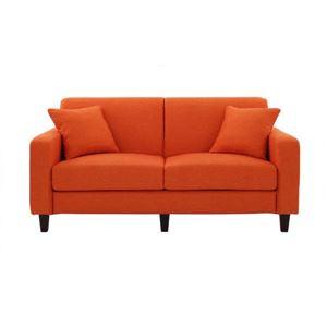 ソファー 幅160cm【LeJOY】スタンダードタイプ ジューシーオレンジ 脚:角錐/ダークブラウン 【リジョイ】:20色から選べる!カバーリングソファの詳細を見る