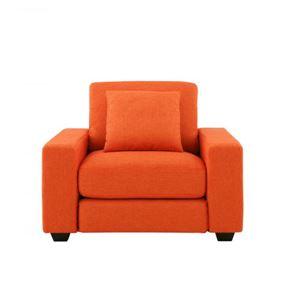ソファー 1人掛け【LeJOY ワイドタイプ】 ジューシーオレンジ 脚:ダークブラウン 【リジョイ】:20色から選べる!カバーリングソファ