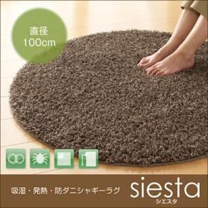 吸湿・発熱・防ダニシャギーラグ【siesta】シエスタ 直径100cm (カラー:ブラウン)  - 拡大画像