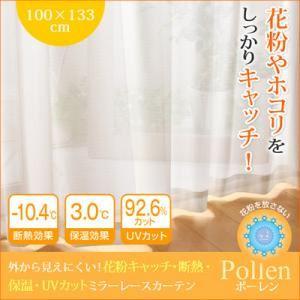 外から見えにくい!花粉キャッチ・断熱・保温・UVカットミラーレースカーテン 【Pollen】 ポーレン 幅100×133cm(2枚組) ホワイト