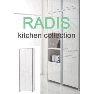 【RADIS】 扉付き食器棚 ダークブラウン - 拡大画像