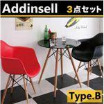 ミッドセンチュリーデザイン家具シリーズ【Addinsell】アディンセル/3点セットBタイプ ホワイト×レッド
