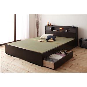 収納ベッド ダブル ダークブラウン 照明・棚付き畳収納ベッド【月下】Gekka - 拡大画像