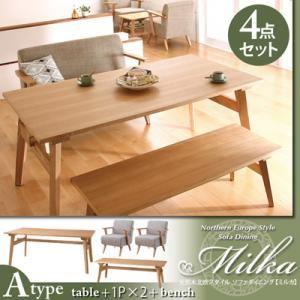 ダイニングセット 4点セット(Aタイプ)【Milka】ブラウン×オレンジ 天然木北欧スタイル ソファダイニング 【Milka】ミルカ - 拡大画像