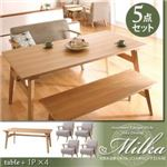 天然木北欧スタイル ソファダイニング 【Milka】ミルカ 5点セット ナチュラル×ベージュ