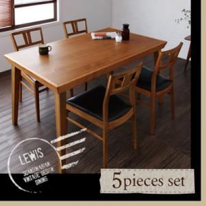 ダイニングセット 5点セット(テーブル+チェア×4)【LEWIS】天然木北欧ヴィンテージスタイルダイニング【LEWIS】ルイス - 拡大画像