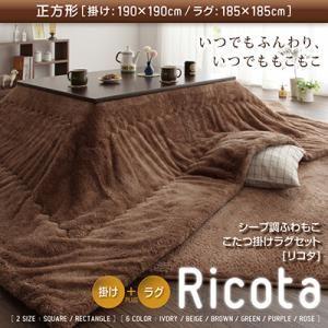 ふわもこシープ調こたつ掛けラグセット【Ricota】リコタ【掛けラグセット】正方形 ブラウン - 拡大画像