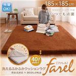 洗えるふかふかクッションラグ【farel】ファレル 185×185cm (カラー:ブラウン) (サイズ:185×185)