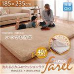 洗えるふかふかクッションラグ【farel】ファレル 185×235cm ブラウン