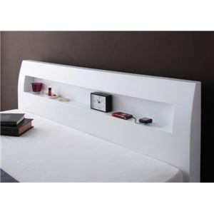 すのこベッド セミダブル【Alamode】【フレームのみ】 ホワイト 棚・コンセント付きデザイン