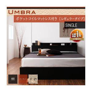 収納ベッド シングル【Umbra】【ポケットコイルマットレス:レギュラー付き】 フレームカラー:ブラック マットレスカラー:アイボリー 棚・コンセント付き収納ベッド【Umbra】アンブラ