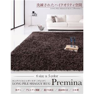 ラグマット 200×200cm Premina ブラウン ロングパイルシャギーラグ Premina プレミナ