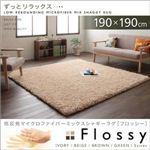 低反発マイクロファイバーシャギーラグ【Flossy】フロッシー 190×190cm アイボリー
