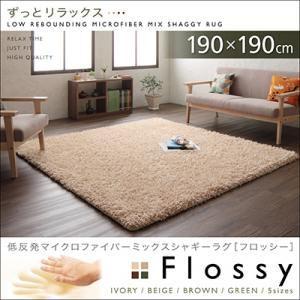 低反発マイクロファイバーシャギーラグ【Flossy】フロッシー 190×190cm グリーン - 拡大画像