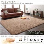 低反発マイクロファイバーシャギーラグ【Flossy】フロッシー 190×240cm ブラウン
