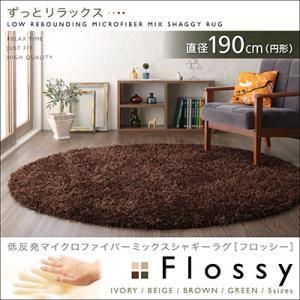 低反発マイクロファイバーシャギーラグ【Flossy】フロッシー 直径190cm(円形) グリーン - 拡大画像