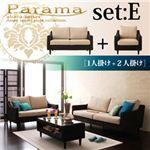 アバカシリーズ【Parama】パラマ セットE:1人掛け+2人掛け 本体 ブラウン(クッション:ベージュ)