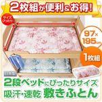2枚組がお得!2段ベッドにぴったりサイズの吸汗・速乾 敷きふとん 【1枚組】 2段ベッド用シングル ピンク