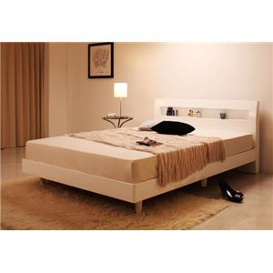 すのこベッド ダブル Degrace フレームのみ ノーブルホワイト 鏡面光沢仕上げ 棚・コンセント付きモダンデザインすのこベッド Degrace ディ・グレース