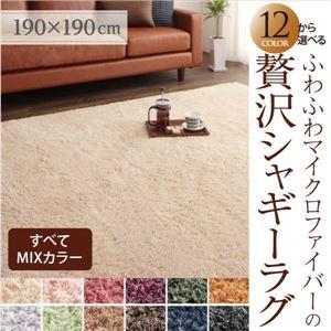 12色×4サイズから選べる すべてミックスカラー ふわふわマイクロファイバーの贅沢シャギーラグ 190×190cm オリーブグリーン - 拡大画像