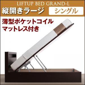 収納ベッド ラージ シングル【縦開き】【Grand L】【薄型ポケットコイルマットレス付】 ナチュラル 新開閉タイプが選べるガス圧式跳ね上げ大容量収納ベッド【Grand L】の詳細を見る