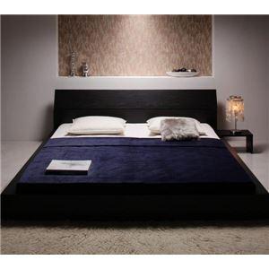 ローベッド キング 【ボンネルコイルマットレス:ハード付き】 ブラック モダンデザインローベッド 【The Queen&King Low Bed】の詳細を見る